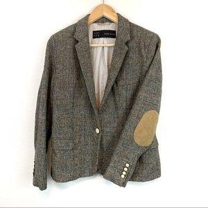 Zara Basic Tweed Wool Elbow Patch Blazer